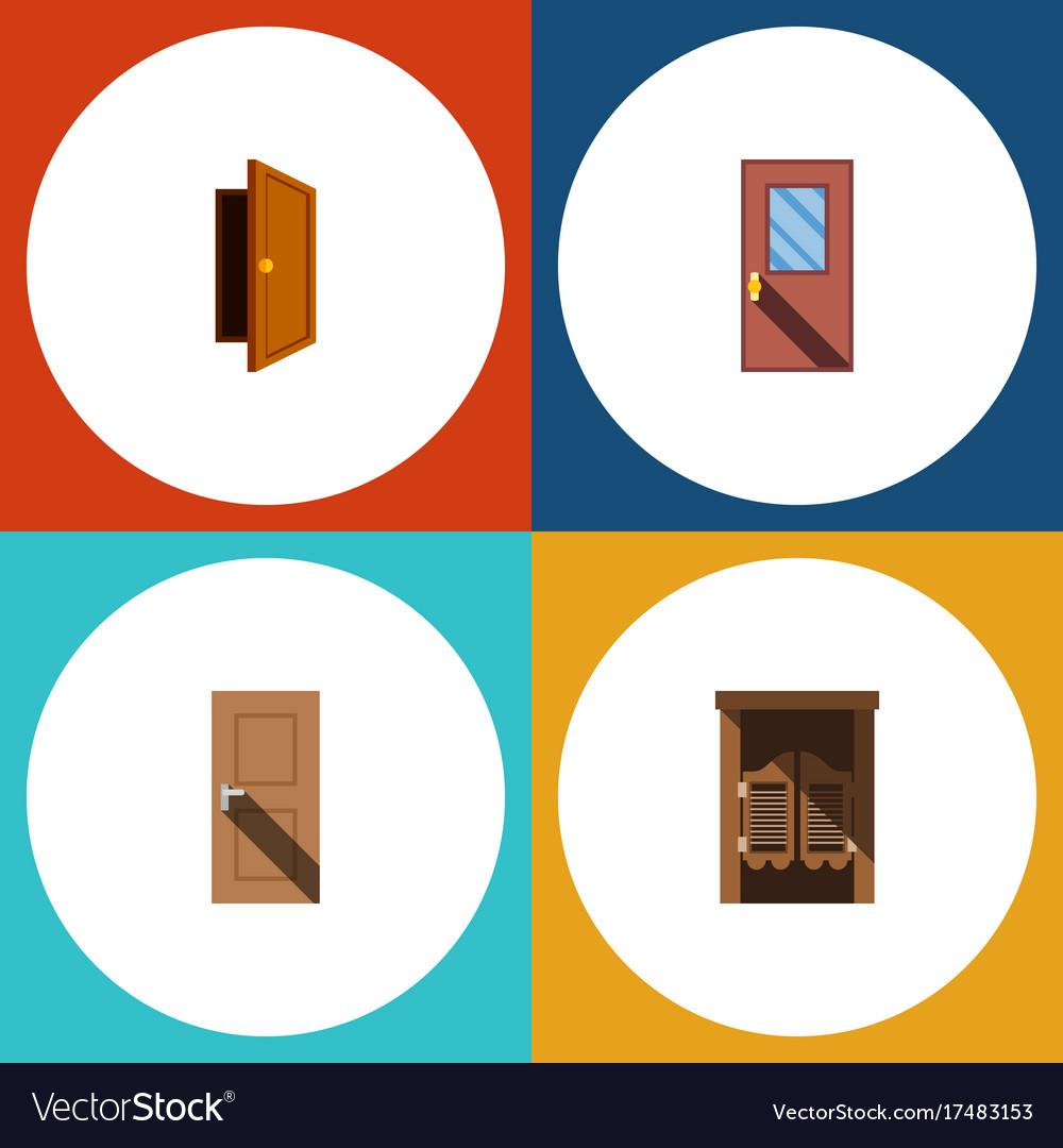 Flat Icon Door Set Of Entry Door Saloon And Vector Image
