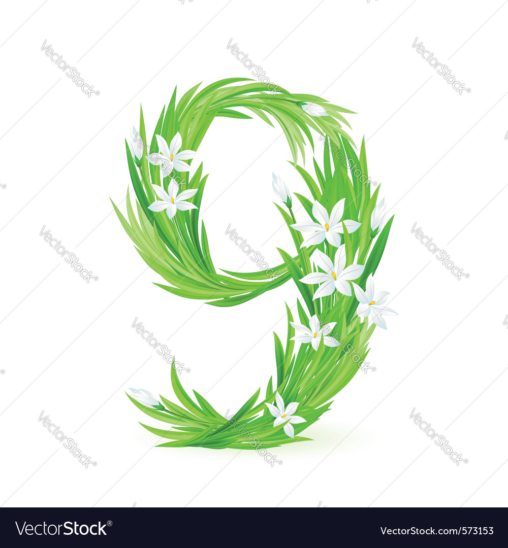Grass letters number 9 vector image