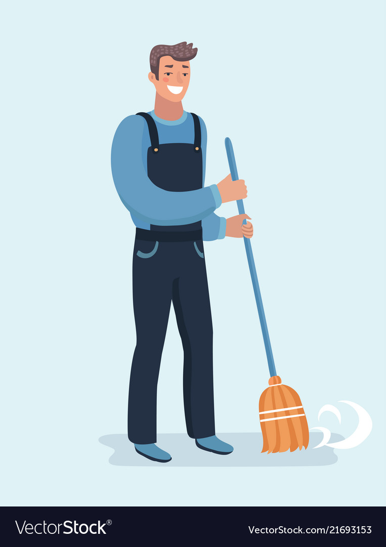 Janitor sweeping the fallen leaves