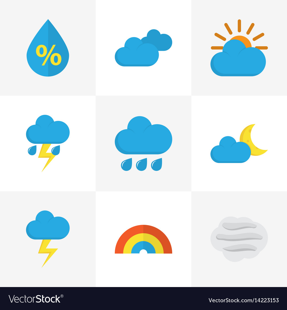 Nature flat icons set collection of drop bow vector image