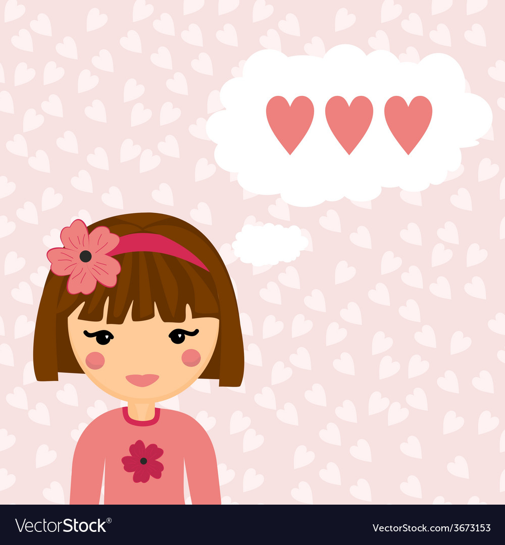 Pretty Girl Thinks about Love Heart Background
