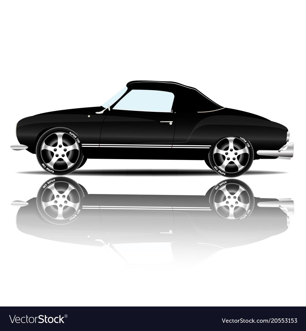 Retro sport car black color white background