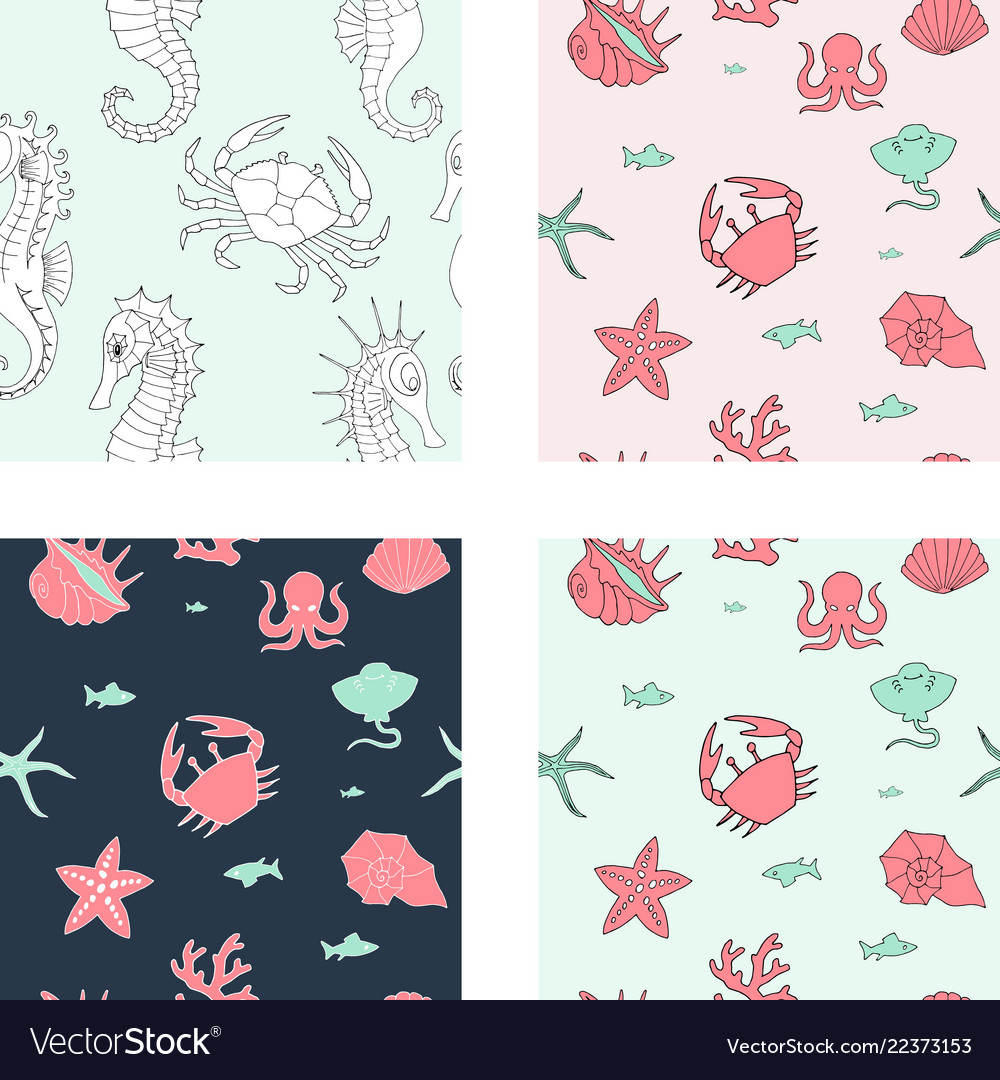 Seamless background with sea animals and elements