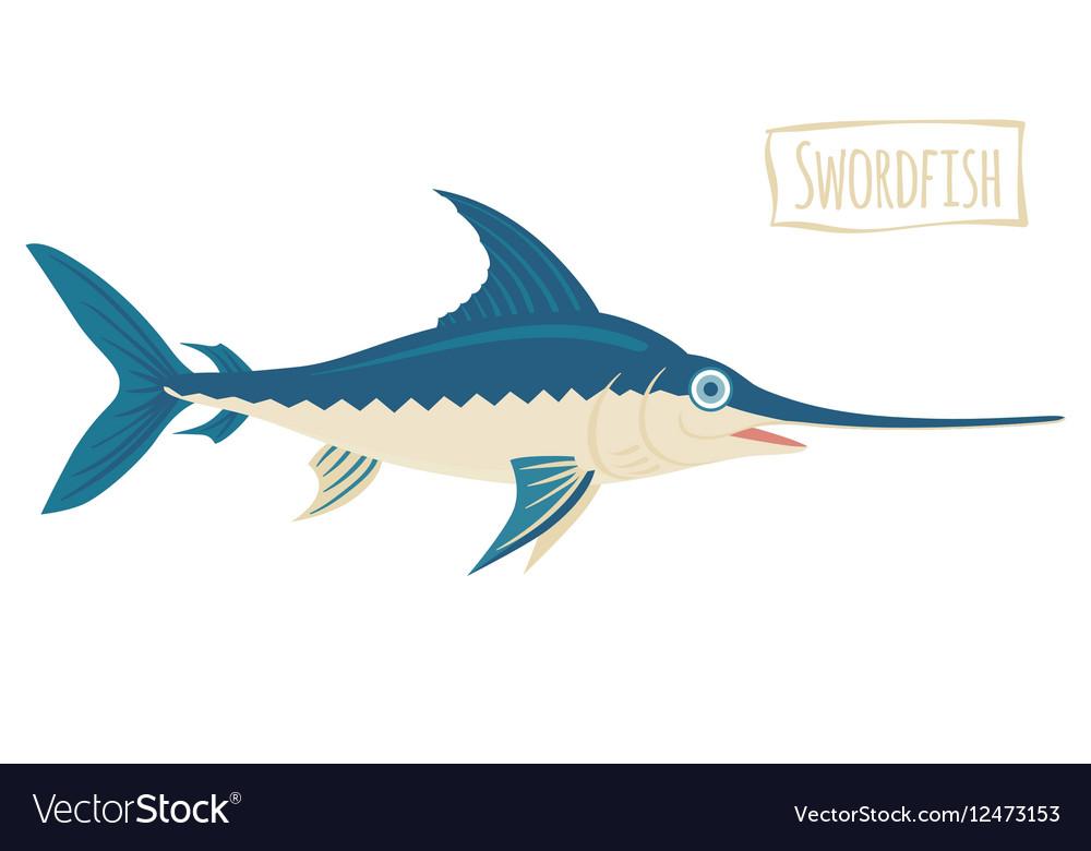 Swordfish cartoon vector image