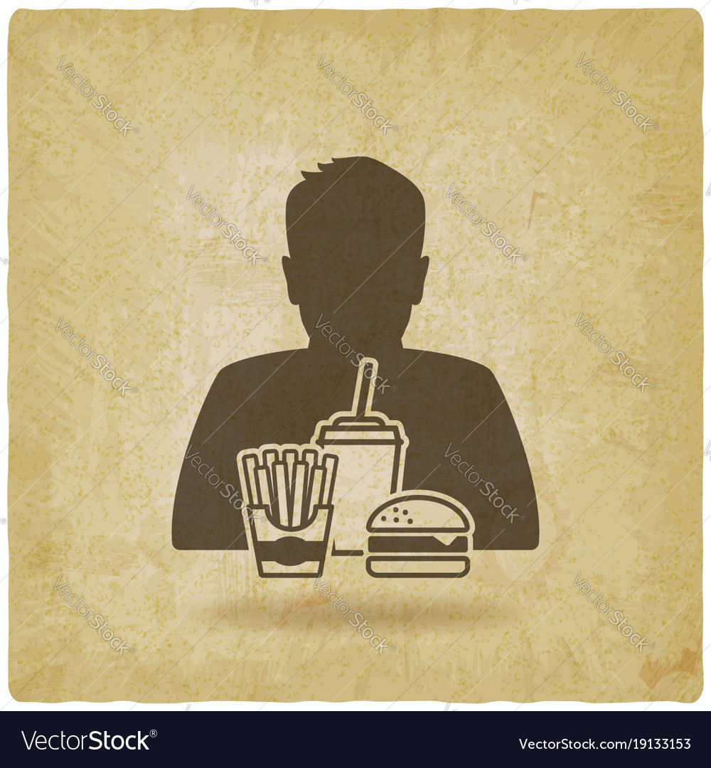 Teenager boy with fast food vintage background