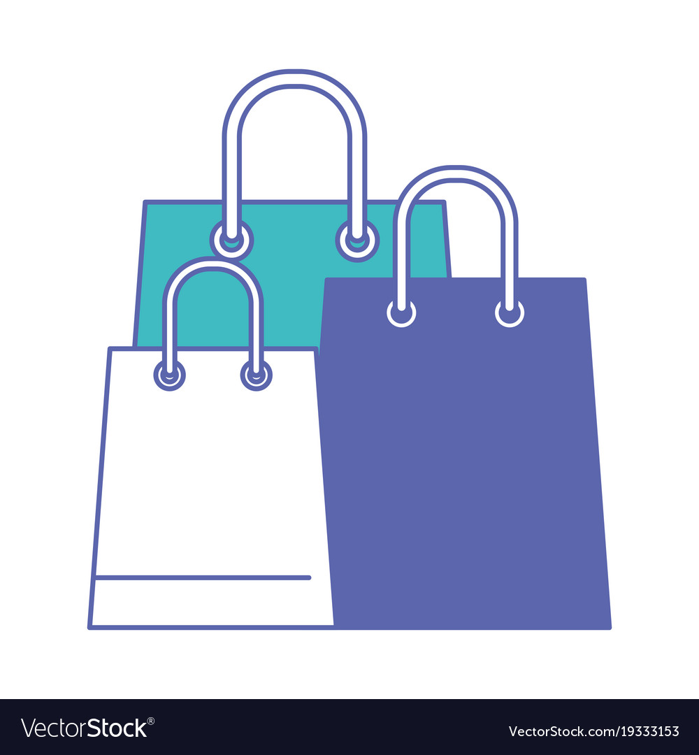 Trapezoid shopping bag set with handle in blue and