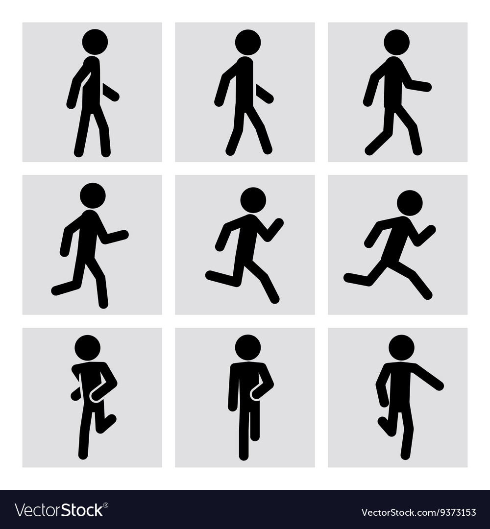 Walking and running people icons vector image