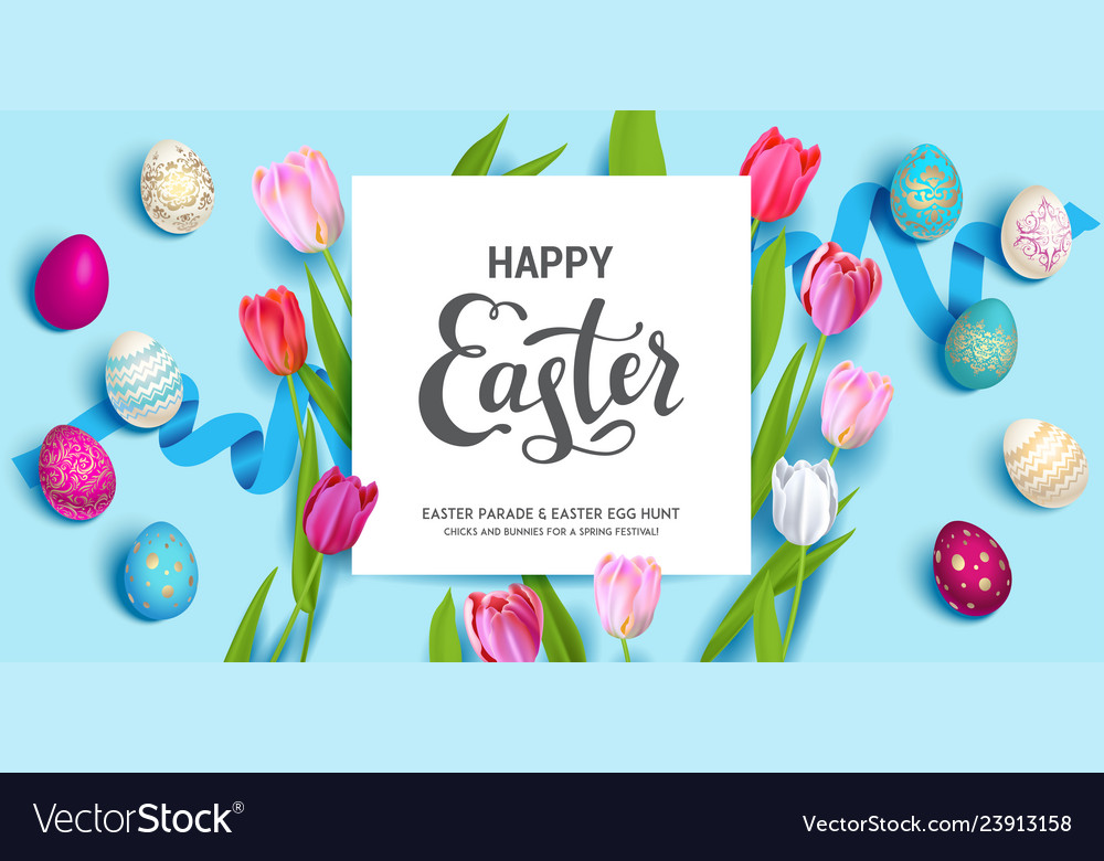 Blue easter holiday banner