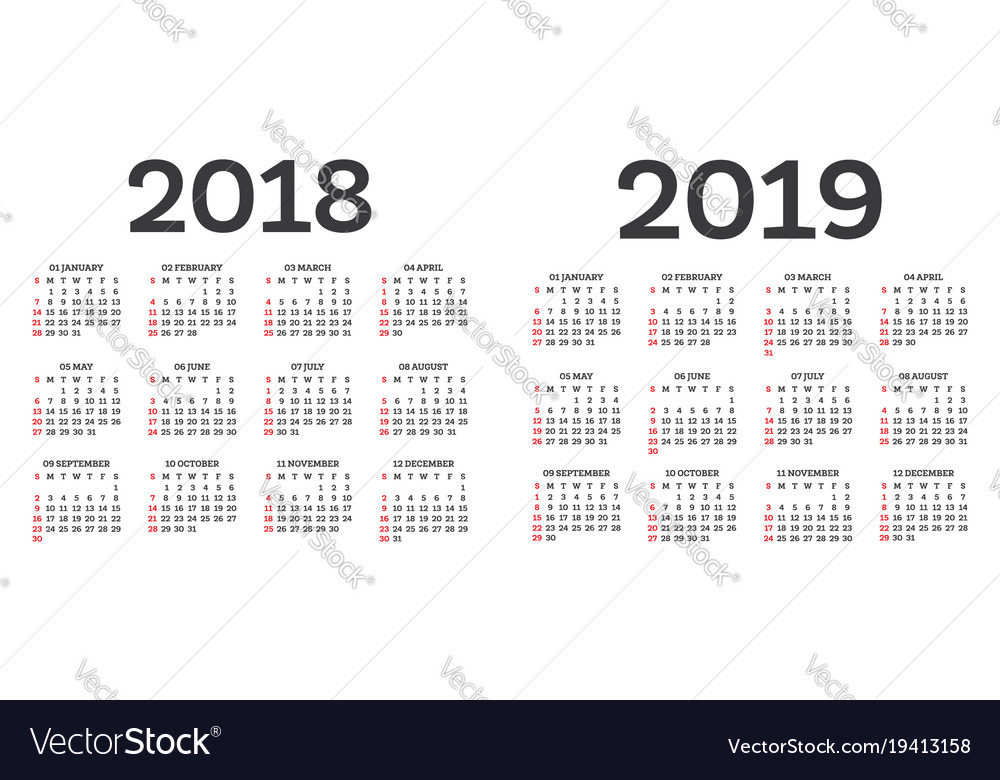 calendar 2018 2019 isolated on white background vector image