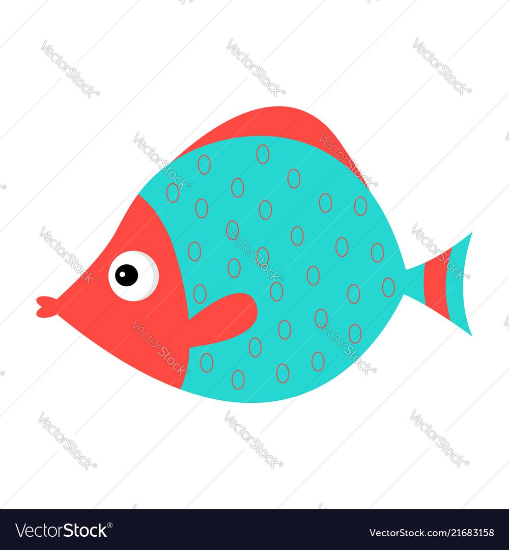 Cute cartoon fish icon set isolated baby kids