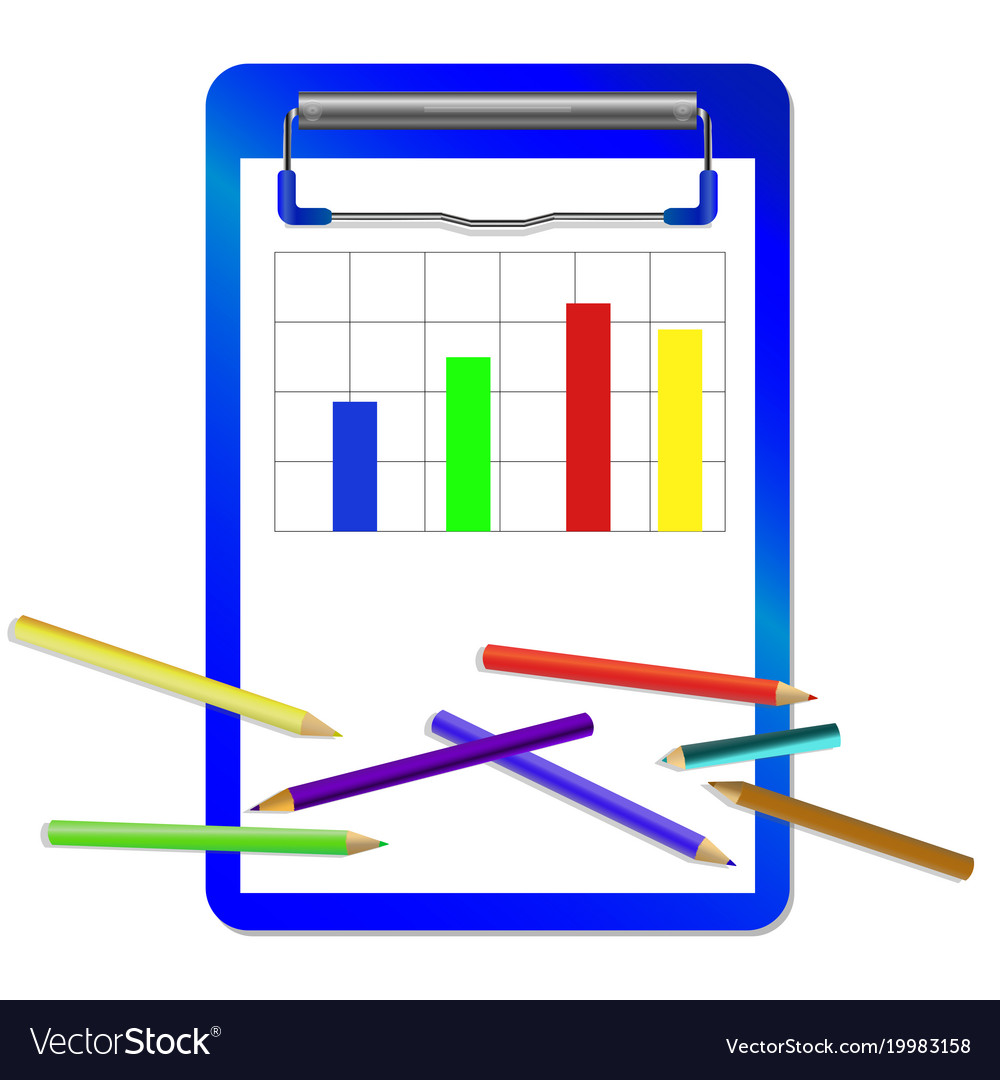 Folder with clip with diagram and colored pencils vector image