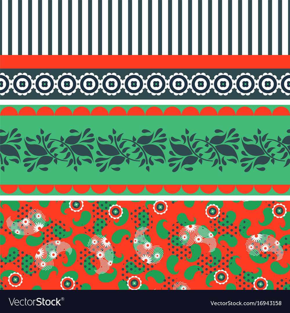 Folk floral red and green seamless pattern