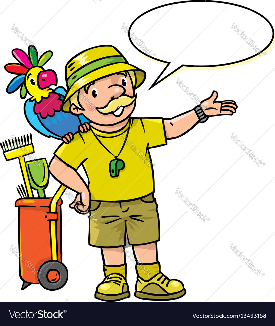 Funny zoo keeper with parrot vector image