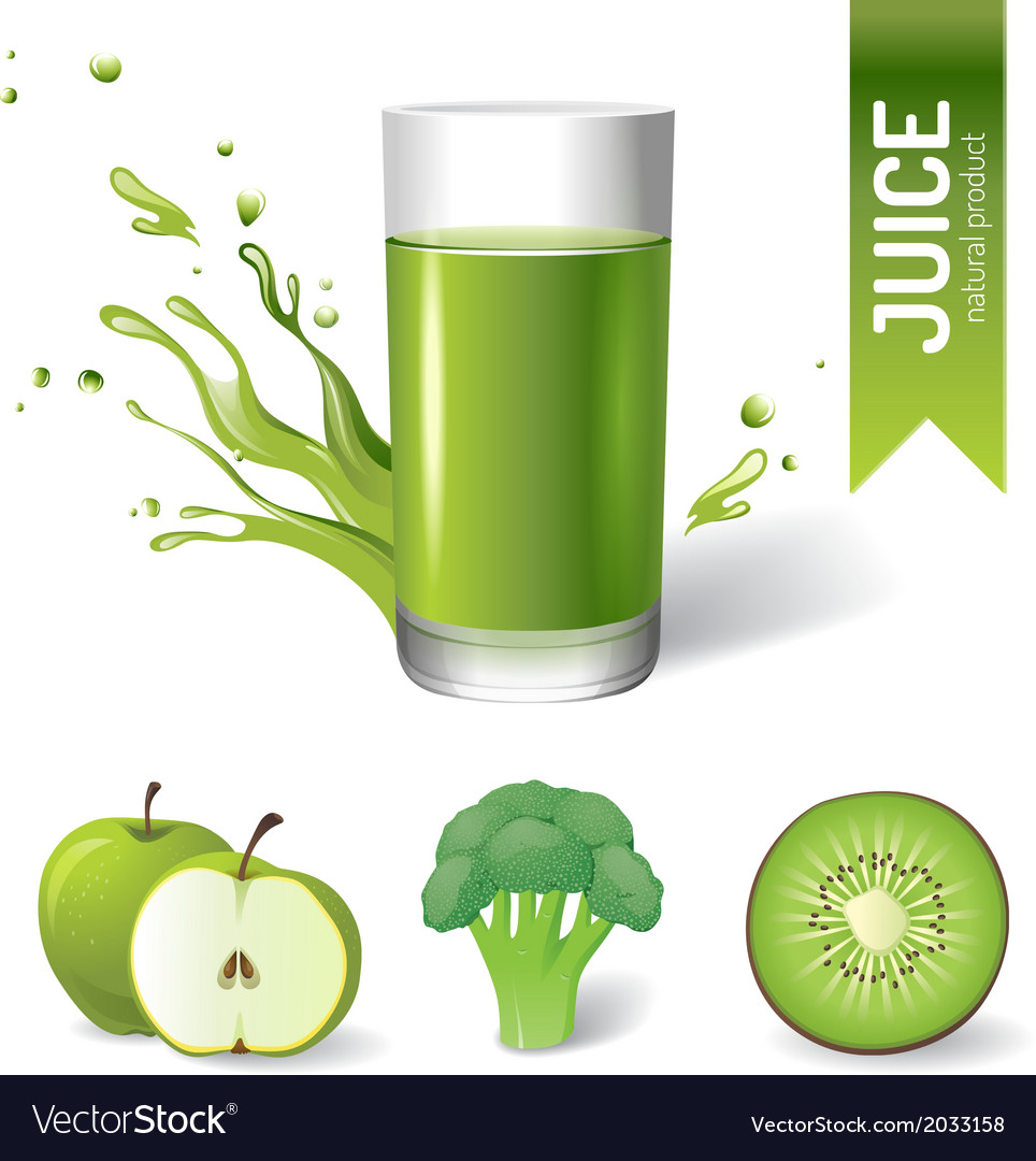 Juice in glass fruits and vegetables icons vector image