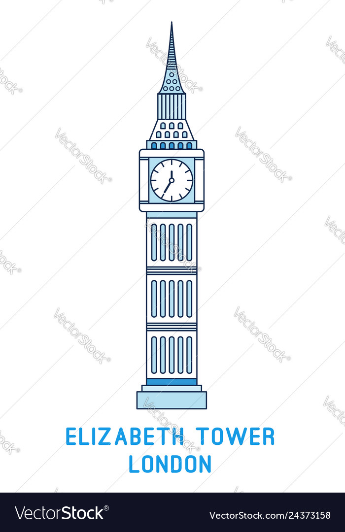 Line art elizabeth tower big ben symbol of