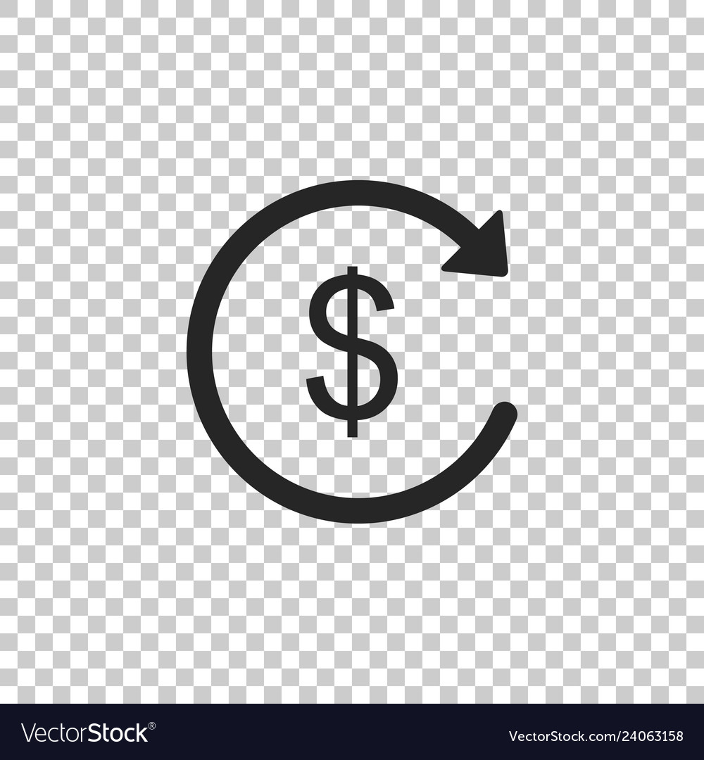refund money icon on transparent background vector image vectorstock