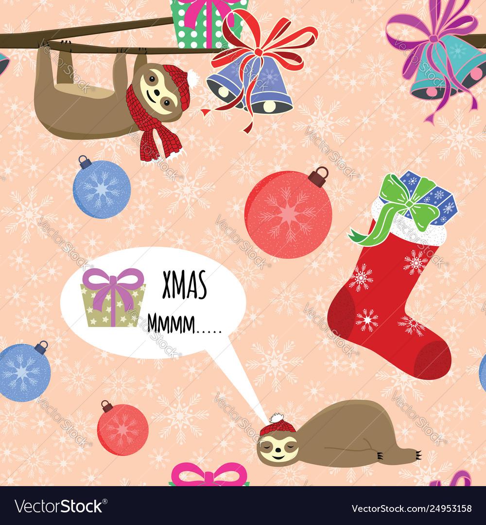 Seamless christmas animals composition snowflake