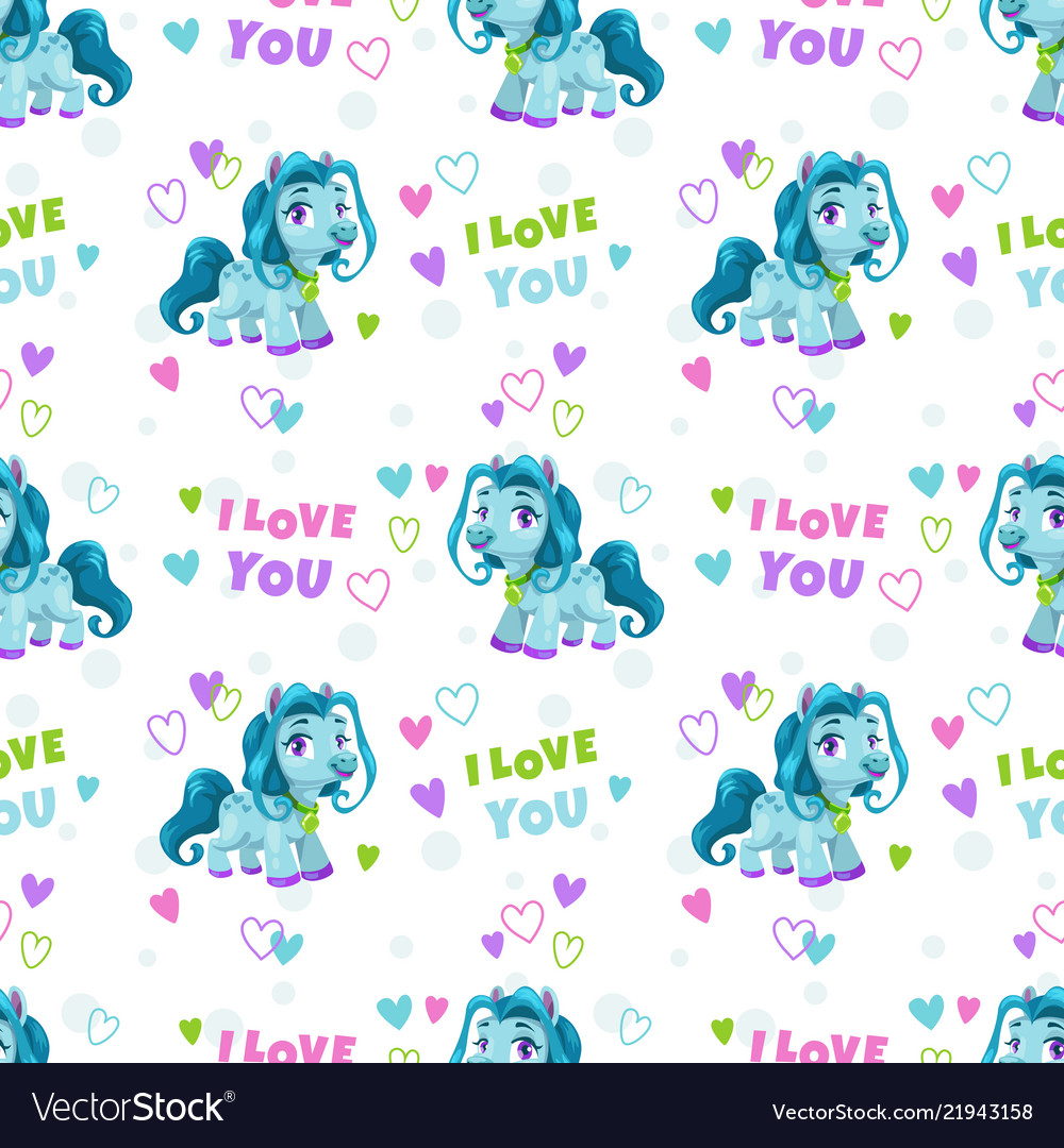 Seamless pattern with cute cartoon blue pony and