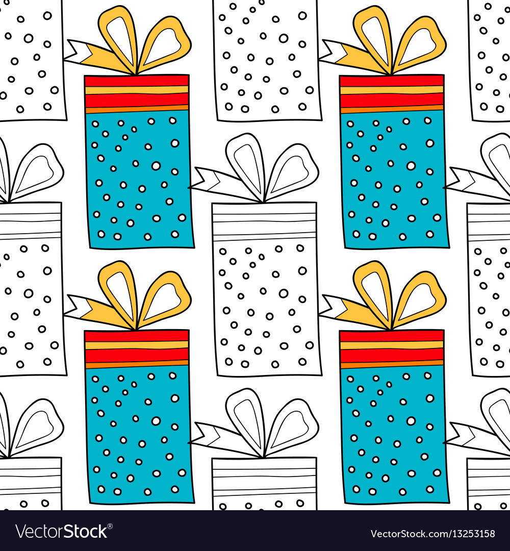Seamless patterns with gift boxes for coloring