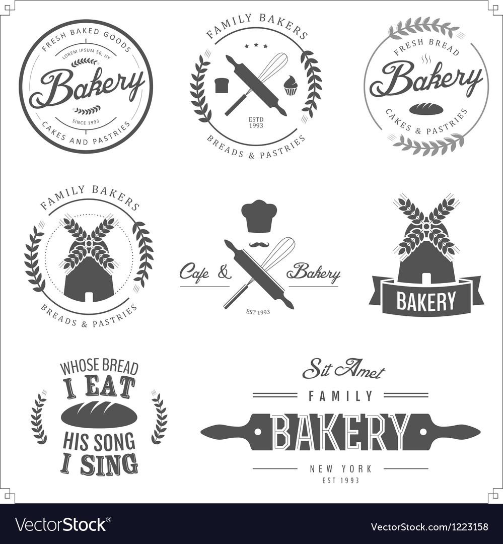 Set of bakery labels badges and design elements