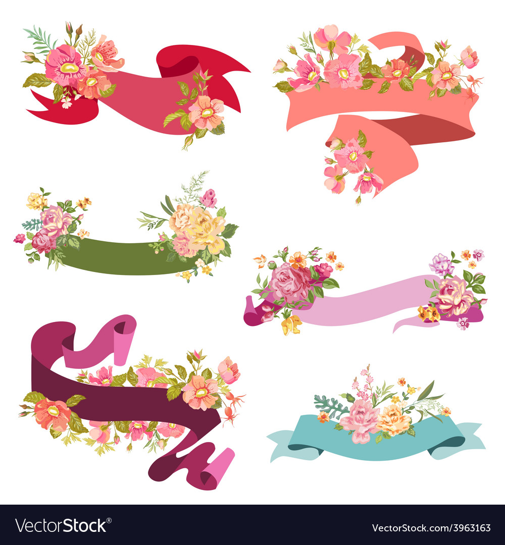 Fl Ribbon Banners For Wedding Vector Image