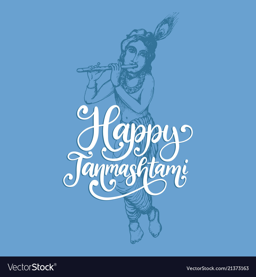 Happy janmashtami hand lettering sketch of young vector image altavistaventures Choice Image