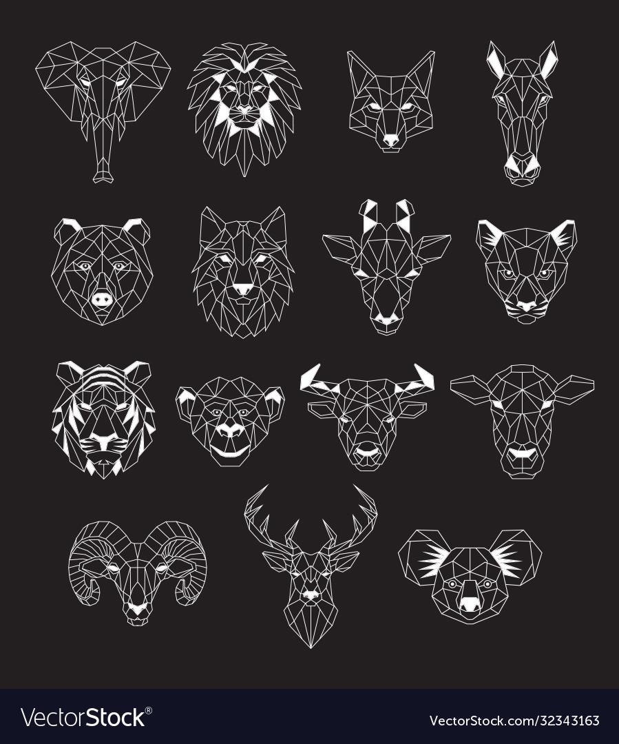Set geometric abstract animals