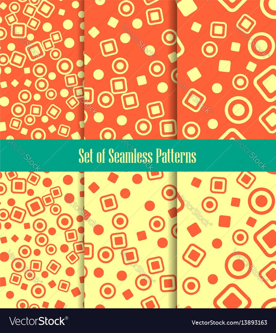 Set of seamless patterns circles squares and dots vector image