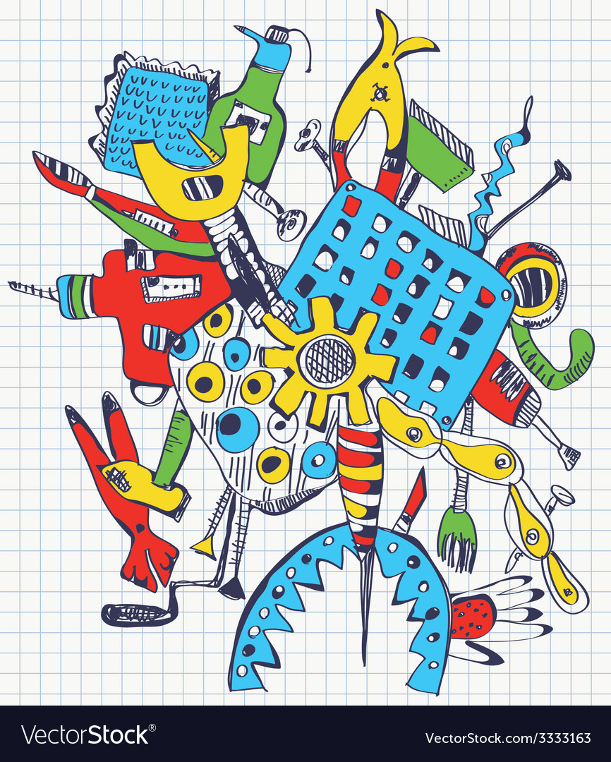 Tools doodle on paper