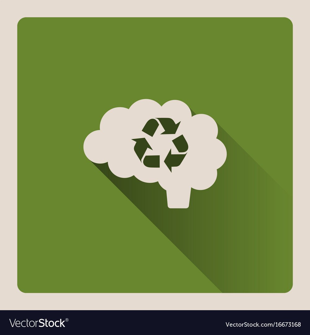Brain thinking in recycled on green background vector image