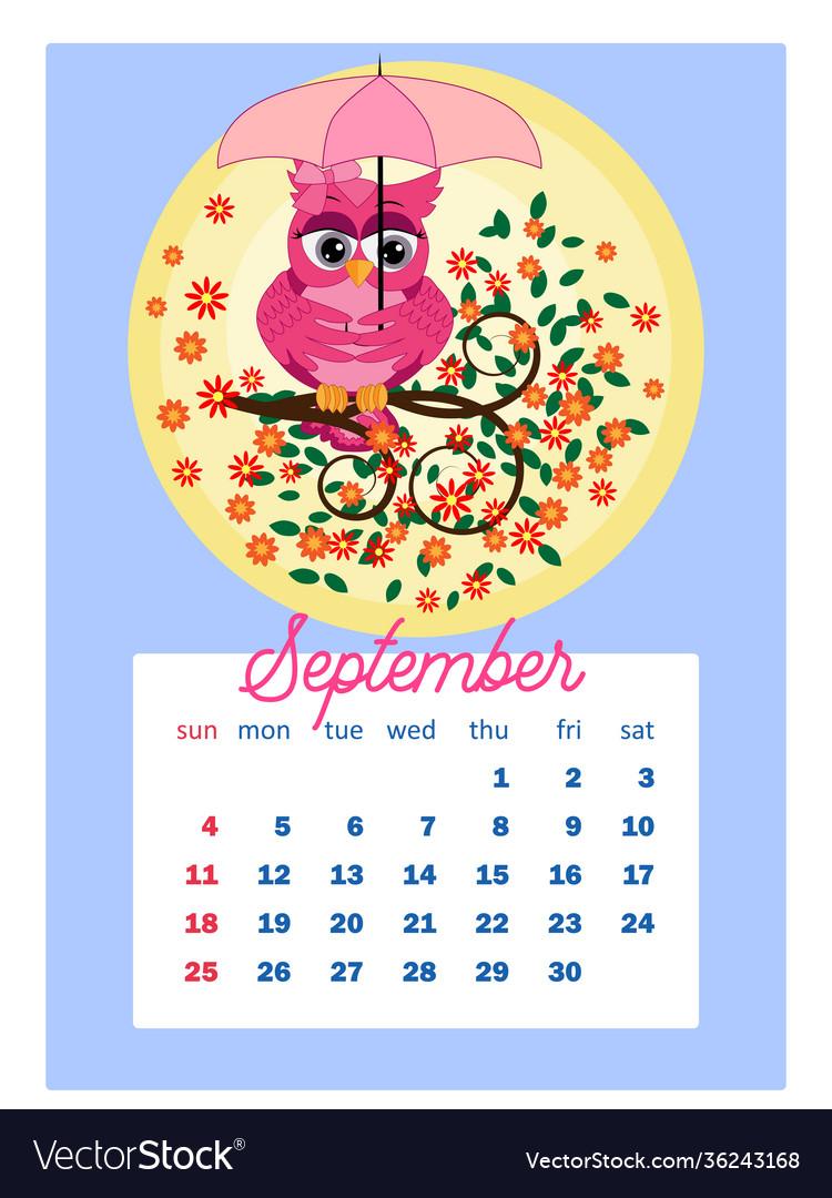 Cute Calendar 2022.Calendar 2022 Cute Owls And Birds For Every Month Vector Image