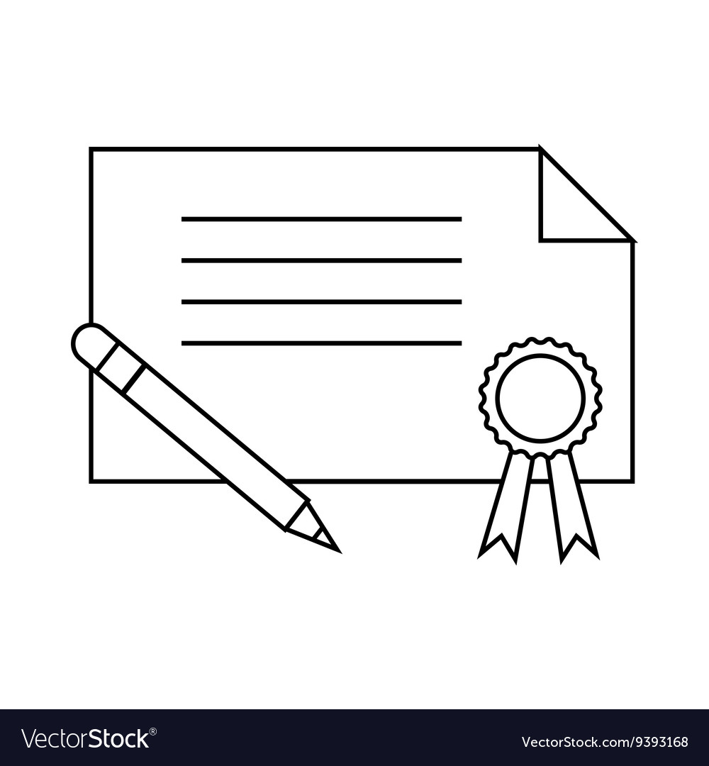 Certificate and pen icon outline style vector image