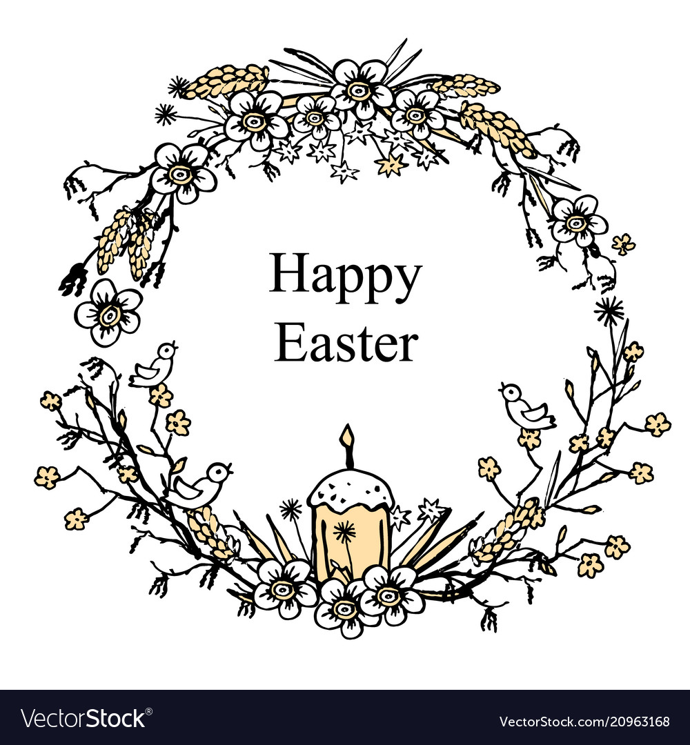 Greeting card for easter with floral wreath with