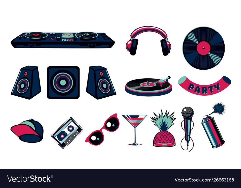 Music party icon set dance night club