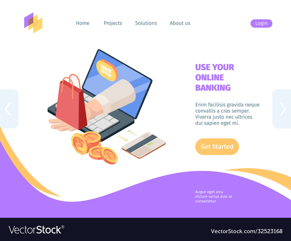 Online shopping with banking isometric homepage