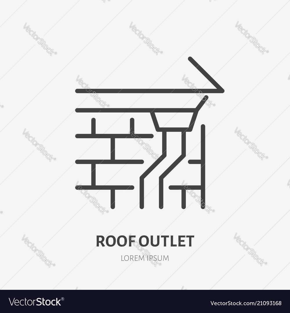 bc2794119246 Roof outlet drain flat line icon house Royalty Free Vector