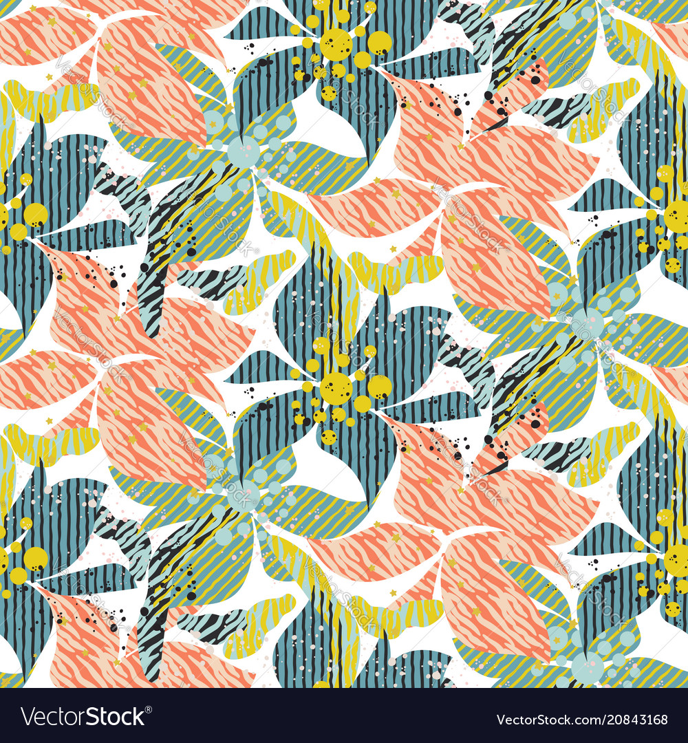 Seamless pattern with bold colorful flowers with