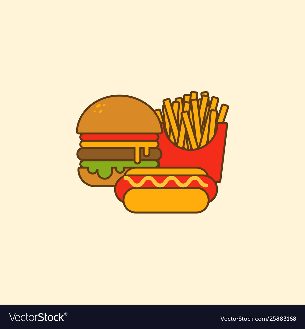 Set hamburger hot dog and french fries flat