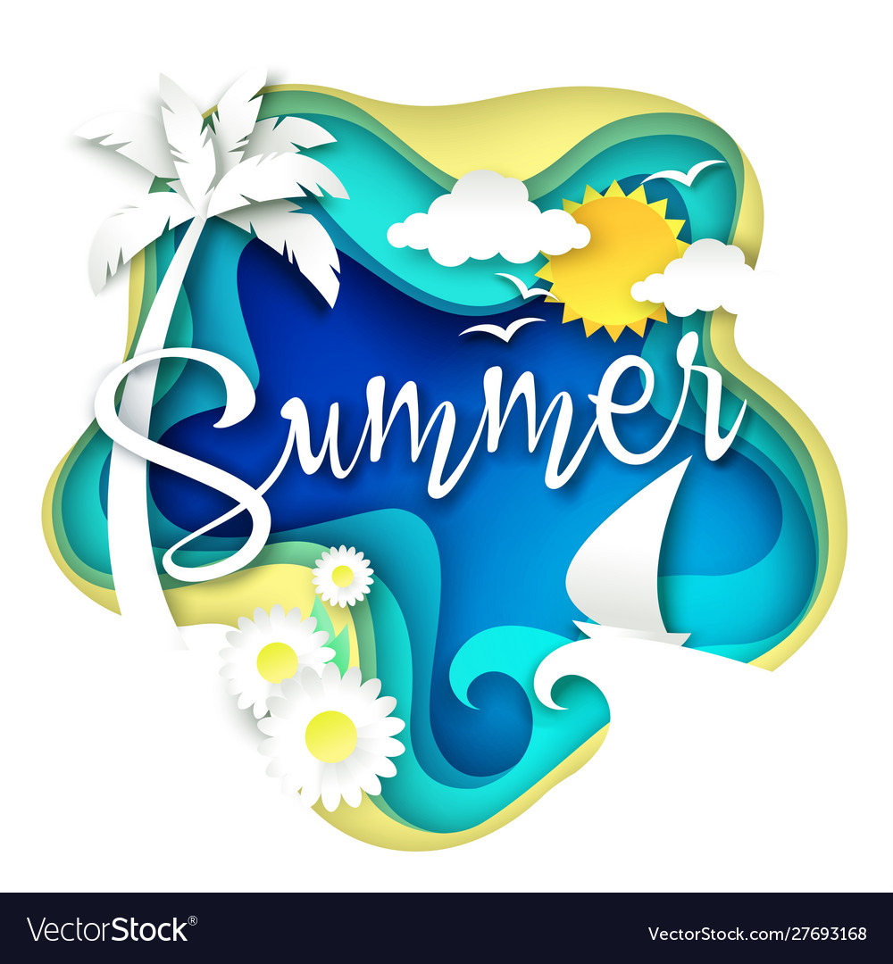 Summer layered paper art style