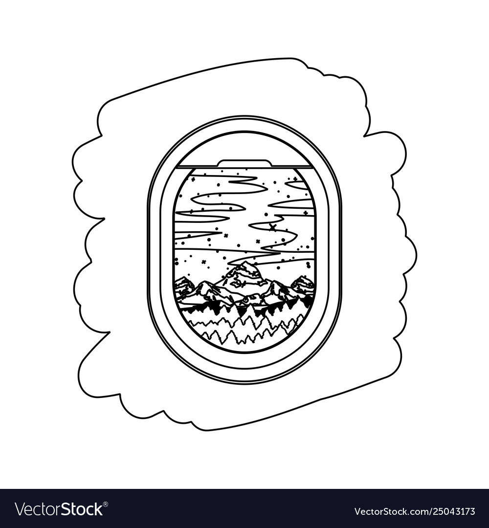 Airplane Window With Exterior View Royalty Free Vector Image