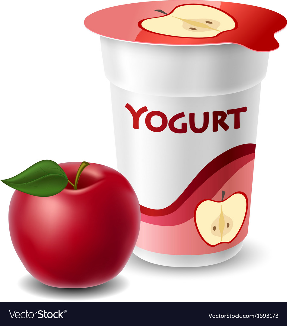 Apple yogurt cup with red apple Royalty Free Vector Image