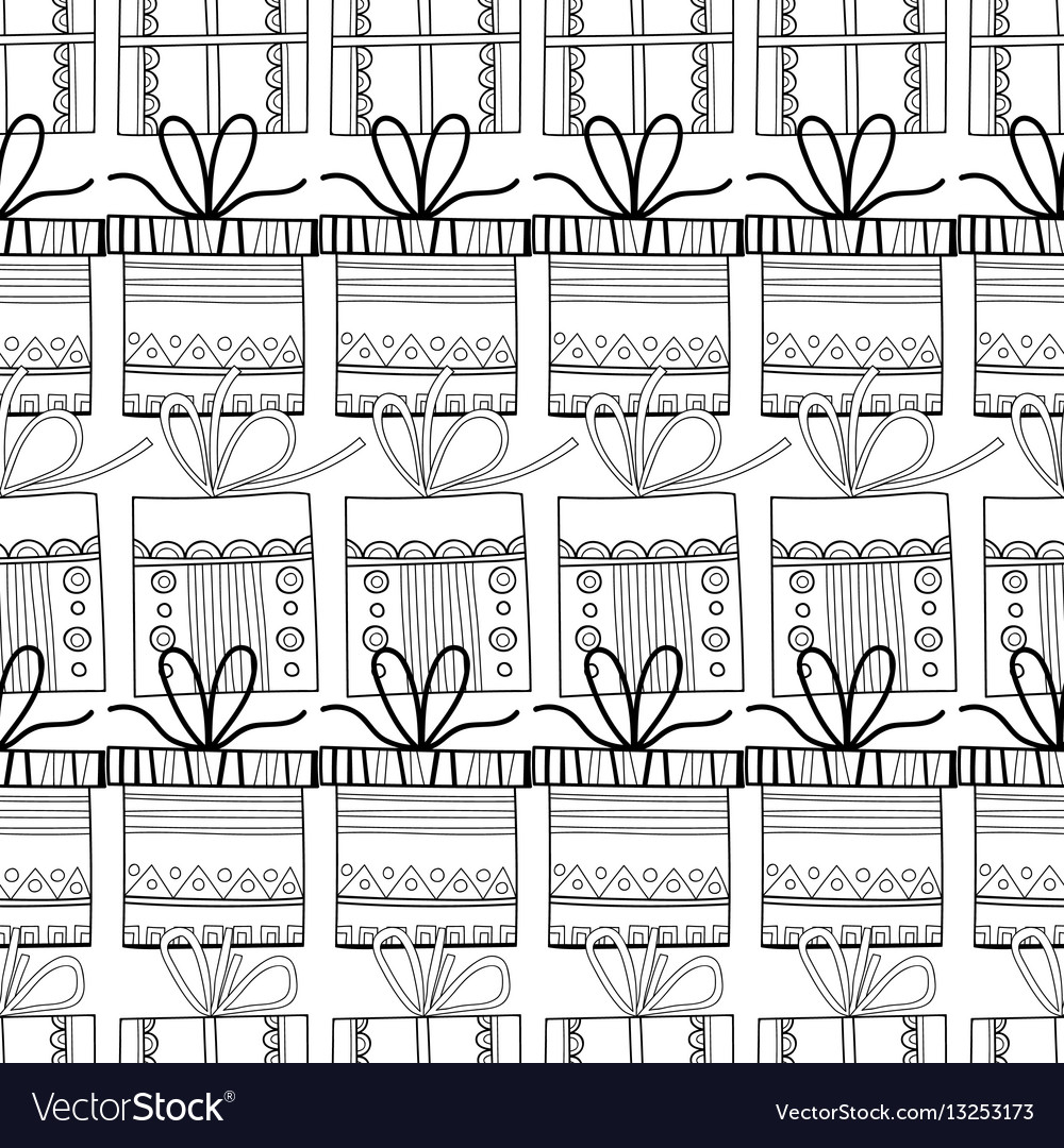 Black and white seamless patterns with gift boxes