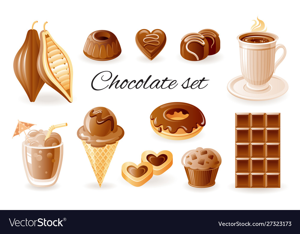 Chocolate coffee cocoa icon set chocolate bar