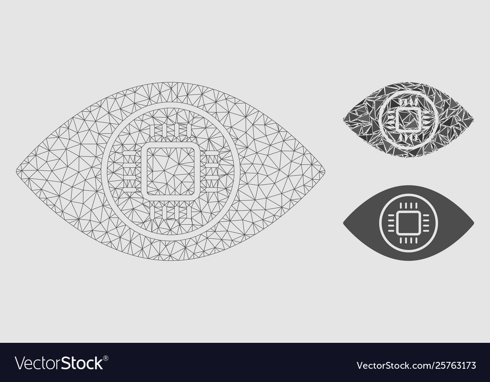 Cyborg eye mesh 2d model and triangle vector image