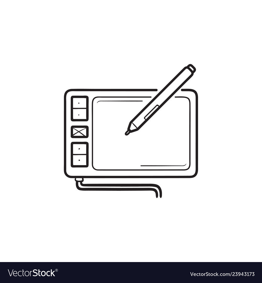 Digital drawing tablet hand drawn outline doodle