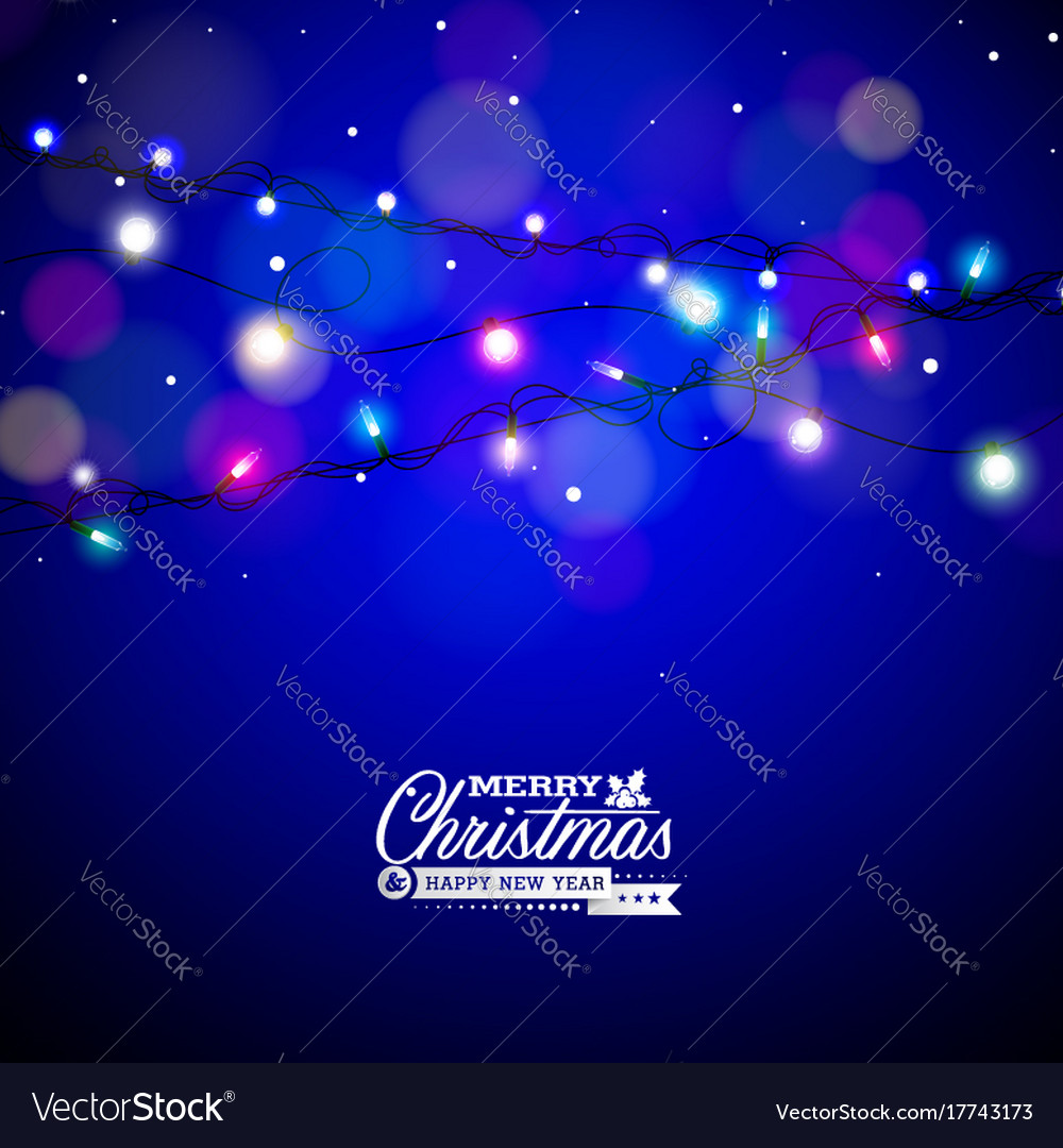 Glowing colorful christmas lights for xmas holiday