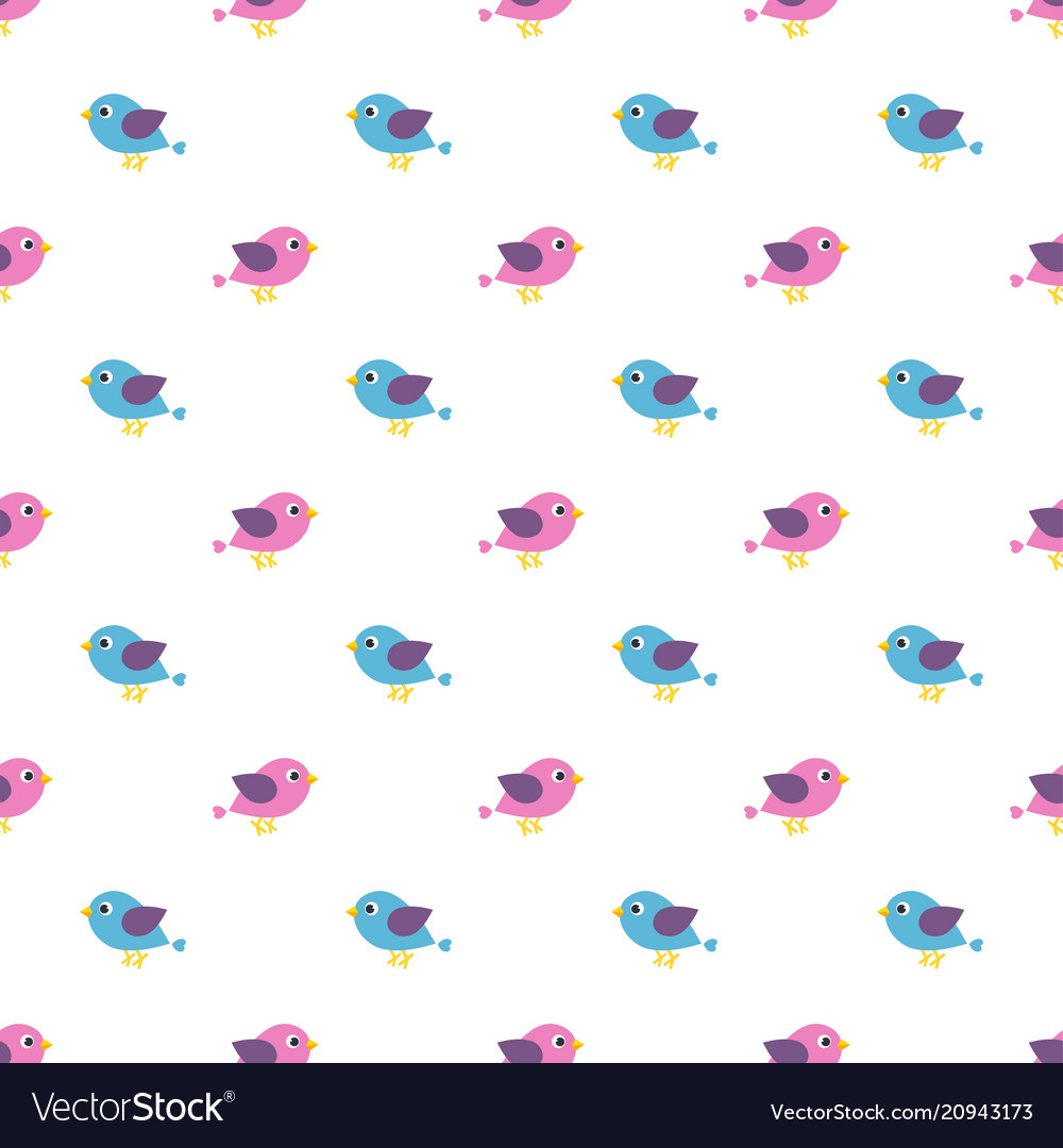 Seamless pattern with blue and pink birds