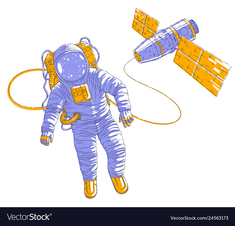 Spaceman flying in open space connected to space
