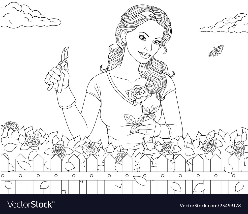 Beautiful girl in the garden with roses