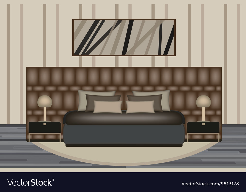 Bedroom Elevation Room With Luxury Royalty Free Vector Image